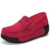 baratos Mocassins Femininos-Mulheres Sapatos Couro Primavera Outono Conforto Mocassins e Slip-Ons Salto Plataforma Ponta Redonda para Preto Vermelho Azul