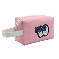 PU Character Cosmetic Bag Zipper for Casual All Season Dark Red Pink