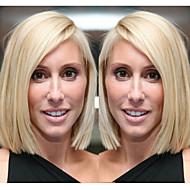 Naisten Aitohiusperuukit verkolla Remy Lace Front 130% Tiheys Suora Peruukki Blonde Lyhyt Keskikokoinen Luonnollinen hiusviiva Tummille