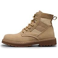 Masculino sapatos Couro Ecológico Primavera Outono Conforto Coturnos Botas Botas Curtas / Ankle para Casual Preto Bege Khaki