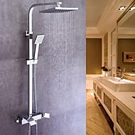 tanie Baterie prysznicowe-Współczesny Umieszczona centralnie Zawiera prysznic ręczny Zawór ceramiczny Pojedynczy Uchwyt Dwa Otwory Chrom, Bateria Prysznicowa