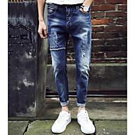 Homens Algodão Jeans Calças - Sólido