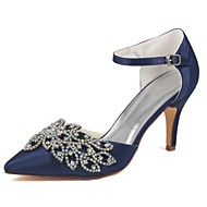 cheap -Women's Shoes Stretch Satin Spring / Summer Basic Pump Wedding Shoes Stiletto Heel Pointed Toe Crystal Dark Blue / Party & Evening