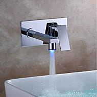 baratos Chuveiros-Moderna Montagem de Parede LED Válvula Cerâmica Monocomando Dois Buracos Cromado, Torneira pia do banheiro