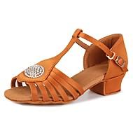 baratos Sapatilhas de Dança-Sapatos de Dança Latina Cetim / Gliter Sandália / Salto Pedrarias / Presilha Salto Robusto Personalizável Sapatos de Dança Castanho Escuro