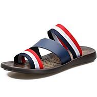 olcso -Uniszex cipő Bőr / Vászon Tavasz / Nyár Kényelmes Papucs és papuc Fehér / Sötétkék