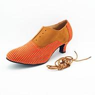 billige Moderne sko-Moderne sko Semsket lær Høye hæler Tvinning Kustomisert hæl Kan spesialtilpasses Dansesko Rosa / Svart / Rød / Kakifarget