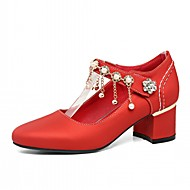 abordables Talons pour Femme-Femme Chaussures Similicuir Printemps / Automne Confort / Nouveauté Chaussures à Talons Talon Bottier Bout rond Imitation Perle Beige /