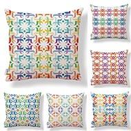 tanie Zestawy poduszki-6 szt Tekstylny Cotton / Linen Pokrywa Pillow, Kwiaty Geometryczny Wielokolorowa