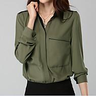 V-hals Dame - Ensfarvet Vintage Arbejde Skjorte