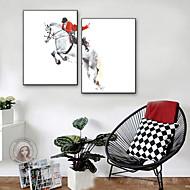 billige Innrammet kunst-Mennesker Dyr Tegning Veggkunst,PVC Materiale med ramme For Hjem Dekor Rammekunst Stue Innendørs