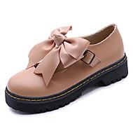 baratos Oxfords Femininos-Mulheres Sapatos Couro Ecológico Primavera Conforto Oxfords Sem Salto Ponta Redonda Laço Preto / Amêndoa