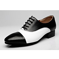 cheap Dance Shoes-Swing Shoes Synthetic Microfiber PU Oxford Color Block Chunky Heel Black/White Customizable