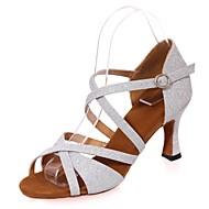 baratos Sapatilhas de Dança-Sapatos de Dança Latina Gliter Sandália Salto Carretel Personalizável Sapatos de Dança Prateado / Vermelho / Azul / Espetáculo / Couro