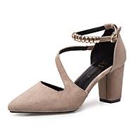 Feminino Sapatos Pele Nobuck Primavera Conforto Saltos Salto Robusto Dedo Apontado Pedrarias para Casual Preto Cinzento Khaki
