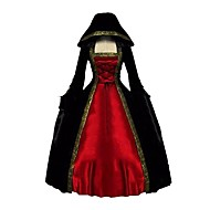 cheap -Rococo Victorian Costume Women's Dress Cloak Red+Black Vintage Cosplay Pleuche Long Sleeve Ankle Length