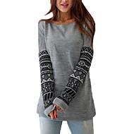 Žene Print Dnevno Ležerne prilike Sportska majica Regularna Dugih rukava Okrugli izrez Zima Jesen Pamuk