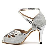 baratos Sapatilhas de Dança-Sapatos de Dança Latina Arrastão / Courino Sandália / Salto Recortes Salto Personalizado Personalizável Sapatos de Dança Prata
