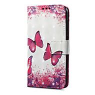 billiga Mobil cases & Skärmskydd-fodral Till Huawei P9 lite mini Korthållare Plånbok med stativ Lucka Magnet Mönster Fodral Fjäril Hårt PU läder för P9 lite mini Huawei