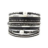Dame Wrap Armbånd - Perle, Læder Vintage, Mode, Elegant Armbånd Grå / Brun / Grøn Til Daglig I-byen-tøj