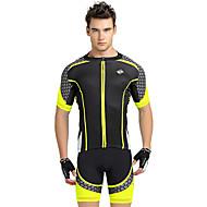 ieftine Nuckily®-Nuckily Bărbați Manșon scurt Jerseu Cycling cu Pantaloni Scurți - Galben Geometic Bicicletă Pantaloni scurți Jerseu Set de Îmbrăcăminte,