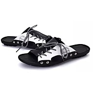 cheap Men's Slippers & Flip-Flops-Shoes PU Cowhide Spring Fall Comfort Slippers & Flip-Flops for Casual Black/White