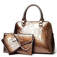 お買い得  バッグセット-女性用 バッグ PU バッグセット 3個の財布セット パターン/プリント シャンパン / ブラック / パープル
