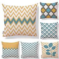baratos Promoção de 9º Aniversário-6 pçs Téxtil Algodão/Linho Cobertura de Almofada, Floral Geométrica Art Deco