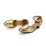 billige Moderne sko-Dame Moderne Paljett Kunstlær Høye hæler Strå Kustomisert hæl Gull Kan spesialtilpasses