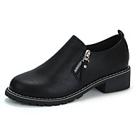 Feminino Sapatos Borracha Inverno Outono Conforto Oxfords Salto Baixo Ponta Redonda para Preto Cinzento Castanho Escuro