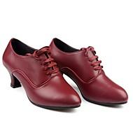 baratos Sapatilhas de Dança-Mulheres Sapatos de Dança Moderna Pele Salto Recortes Salto Personalizado Personalizável Sapatos de Dança Vermelho