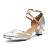 billige Moderne sko-Dame Dansesko Moderne Samba Swingsko Kunstlær Joggesko Trening Nybegynner Tykk hæl Sølv Kan spesialtilpasses