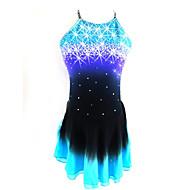 Vestido de patinaje artístico Mujer Chica Patinaje Sobre Hielo Vestidos Negro / azul Espalda Abierta Teñido Halo Licra Competición Ropa de Patinaje Lentejuela Sin Mangas Patinaje artístico