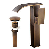 Elegant Bathroom Sink Faucet   Waterfall Antique Copper Centerset Single Handle One  Hole / Brass