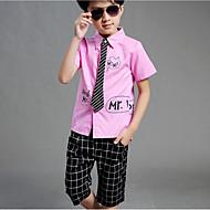 Kinder Jungen Freizeit / Street Schick Alltag / Schultaschen Gestreift / Verziert / Buchstabe Kurzarm Baumwolle / Polyester Kleidungs Set Schwarz
