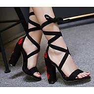baratos Sapatos Femininos-Mulheres Sapatos Pele Nobuck Primavera / Verão Conforto Sandálias Salto Robusto Vermelho / Azul / Com Laço