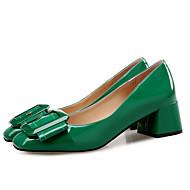 baratos Sapatos Femininos-Sapatos Couro Ecológico Primavera / Outono Conforto Saltos Salto Robusto Ponta quadrada Preto / Verde / Nú