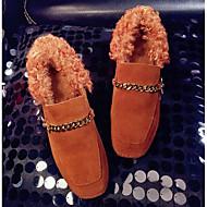 זול מוקסינים לנשים-נשים נעליים עור אמיתי פרווה אביב סתיו נוחות נעליים ללא שרוכים עקב עבה ל קזו'אל שחור חום כהה