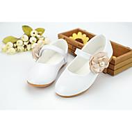 Dívčí Obuv Koženka Jaro Léto Boty pro malé družičky Pohodlné Bez podpatku Chůze Korálky Aplikace Kouzelná páska pro Svatební Party Bílá