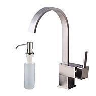 Clássica Conjunto Central Separada Válvula Cerâmica Monocomando e Uma Abertura Escovado, Torneira pia do banheiro