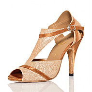 cheap Latin Shoes-Latin Leatherette Sneaker Trim Stiletto Heel Gold Customizable
