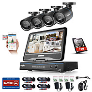 cheap -SANNCE® 8CH 4PCS 720P LCD DVR Weatherproof Security System Supported Analog AHD TVI IP Camera 1TB