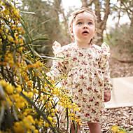 Baby Pige Simple / Vintage Ensfarvet / Blomstret Kortærmet Bomuld / Hør / Bambus Fiber Kjole