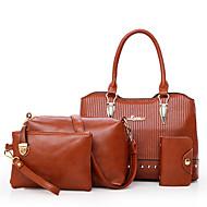 Mulheres Bolsas Couro Ecológico Conjuntos de saco Conjunto de bolsa de 4 pcs Ziper para Compras Casual Todas as Estações Azul Preto