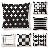 tanie Zestawy poduszki-6 szt Tekstylny Cotton / Linen Pokrywa Pillow, Groszki Kratka Geometryczny