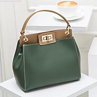baratos Bolsas Tote-Mulheres Bolsas PU Tote Ziper Vermelho / Branco Leite / Verde Escuro