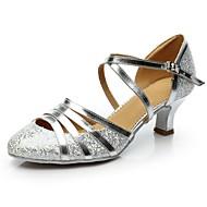 baratos Sapatilhas de Dança-Mulheres Sapatos de Dança Moderna Glitter / Paetês Salto Salto Personalizado Personalizável Sapatos de Dança Dourado / Prata / Interior