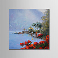 billiga Landskapsmålningar-Hang målad oljemålning HANDMÅLAD - Landskap Samtida / Enkel / Moderna Inkludera innerram / Sträckt kanfas