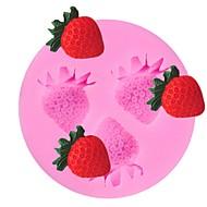 billige Bakeredskap-3 hulrom jordbær frukt silikon kake mold fondant sugarcraft sjokolade mold