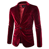 cheap -Men's Party / Daily Spring Regular Blazer, Solid Colored Notch Lapel Long Sleeve Polyester / Velvet Black / Purple / Wine L / XL / XXL